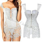 Sexy White Wedding Party Corset Top Dress Lace up Zip Lace Lingerie Overbust