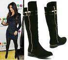 WOMENS BLACK SUEDE LOW HEEL GOLD ZIP CHAIN KNEE HIGH RIDING BIKER BOOTS SHOES 3-