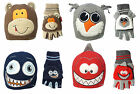 Children's Hat & Fingerless Glove Combo Animal & Monster Boys Girls Winter Warm