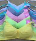 LOT 1 or 6 pc Wire Free Plain Pastel Bright Color Girl COTTON Training Bra A cup