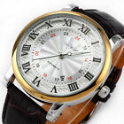 WINNER Mens Automatic Mechanical Wrist Watch Date Display Brown Leather Watches