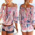 Women Summer Gypsy Boho Floral Off Shoulder Tops Loose Casual Shirt Blouse Tee