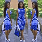 Womens  Summer Bandage Bodycon Floral Evening Party Cocktail Short Mini Dress