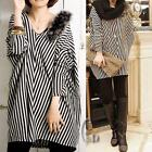 AU SELLER Striped Pattern Faux Fur Trim Loose Long Top Tee T074