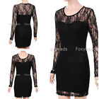 Sexy Women Ladies Black Floral Lace Long Sleeve Bodycon Slim Cocktail Dress Gift