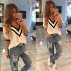 NEW Womens Long Sleeve Knit Sweater Tops Jacket V- Neck Pullover Jumper Coat