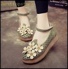 Hot Sale Womens Elegant Faux Suede Ankle Strap Flower Round Toe Flat Sweet Shoes