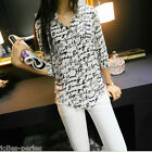 JP Fashion Women Casual Shirt Print Down Collar Chiffon Blouse Tops S/M/L/XL