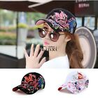Fashion Women Flower embroidered Sport Snapback Hip-hop Hat Baseball Cap TXCL