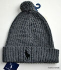 Polo Ralph Lauren Cuff Hat Beanie Gray or Black Lg Pony Lamb Wool+Nylon Fit All