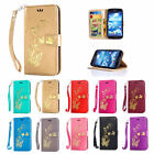 New Hot Stamping Golden Pattern Magnetic Stand Cover Case for Samsung Galaxy S5