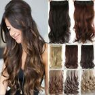 UK Real Thick One Piece Long Straight Wavy Clip In Hair Extension Extensions F96