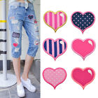 Embroidered Patches Heart Shape For Clothes DIY Stripe Pink Iron On Applique Dot