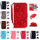 For iPhone 5S SE 5 Emboss Butterfly Diamond Wallet Leather Case Cover With Strap