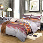 King Size 100% Cotton Duvet Quilt Cover Bedding Set + 2 Pillow Cases 2 Types UK