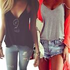 Women's Sexy Fashion Loose V-Neck Tops Sleeveless T-shirt Casual Blouse