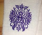 Damask Spider Towel~ Embroidered Towels~ Hand & Bath Towels ~choose your colors