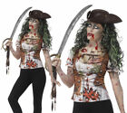 Pirate Wench T-Shirt Ladies Zombie Halloween Pirates Fancy Dress Accessory S-L