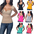 High Quality Women's Sexy V-neck Short Sleeved T-shirt Slim Solid Color Shirt