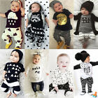 2pcs Lovely Newborn Infant Baby Boy Girl Clothes T-shirt Tops+Pants Outfits Set