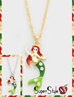 Enamel Crystal Mermaid Lady Fish Tail Pendant Necklce Chain Design