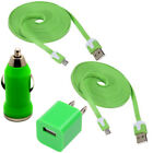2 Micro USB Data 10ft Cable Wall Car Charger Adapter Connector Flat Noodle Sync