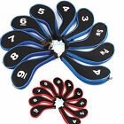10pcs/set Red Blue Neoprene Golf Club Headcover Long Neck Zipper Iron Head Cover