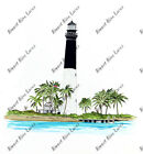 Tortugas Lighthouse Beach Scene Sticker Decal Home Office Dorm Wall Tablet Cell