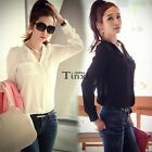 Fashion Womens Loose Chiffon Button Tops Long Sleeve T Shirt Casual Blouse TXCL
