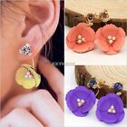 1 Pair Fashion Women Elegant Flower Crystal Rhinestone Ear Stud Earrings K0E1