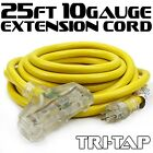 UL 25-50 FT 10-12 Gauge Tri-Tap Extension Cord Electric Cords Clear Glow Stjw