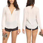 Women V-neck Tops Tee Long Sleeve Shirt Casual Blouse Loose T-shirt