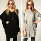 S-2XL Womens Cotton Tops Pullove Batwing Sleeve Blouse Loose Long T Shirt Jumper