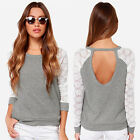 S-3XL Women Cotton Tops Pullover Long Sleeve Casual Backless Lace Blouse T Shirt