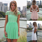 Women Backless Bandage Bodycon Lace Evening Sexy Party Cocktail MINI Dress New