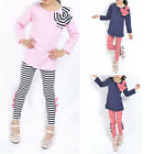 2pcs Baby Girl Kids Bowknot T-shirt Top+pants Leggings Trousers Outfit Clothing