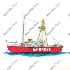 Ambrose Lighthouse Ship Sticker Decal Helmet Equipment Cooler NYC Fish Boating