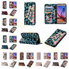 For Samsung iPhone 3D Rhinestone Dense Card Slots Leather Case Cover+Wrist Strap