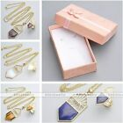 Golden Metal Hollow Shield Gemstone Chain Necklace Finger Ring Jewelry Set Gift