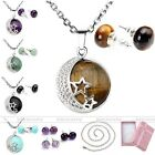 Women Gemstone Bead Pendant Silvery Chain Necklace Earrings Ear Stud Jewelry Set