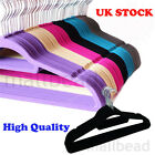 10 Velvet Non Slip Flocked Adult Coat Clothes Trouser Hanging Hangers With Bar