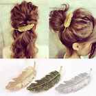 Women Gold/Silver Leaf Feather Hair Clip Hairpin Barrette Bobby Pins Charm JYL