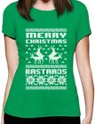 Merry Christmas Bastards Humping Reindeer Funny Ugly Xmas Women T-Shirt Gift