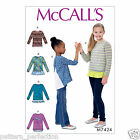 McCall's 7424 Sewing Pattern to MAKE Easy Girls' Stretch Sweatshirt Tops
