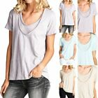 Solid Short Sleeve Double Layer Front Scoop Neck Top Loose Fit Casual S M L