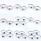 "100x Steel Crystal CZ Star 5/16"" Fake Lip Nose Helix Cartilage Septum Hoop Rings"