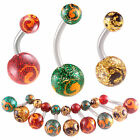 steel belly navel ring glitter button bar piercing jewelry 9ICO-PICK STYLE&SIZE