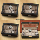 Leather Watch Box Organizer Jewelry Storage Personalized Glass Top Display Case