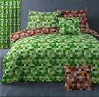 Pixel Squares Bedding Set Duvet Cover & Pillowcases Modern Check Green Brown