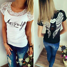 Women's Casual Blouses Angel Wings Pattern T-shirt Short Sleeve Lace Collar Tops